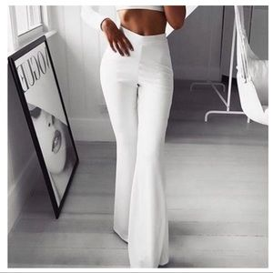 White chic bell flare pants